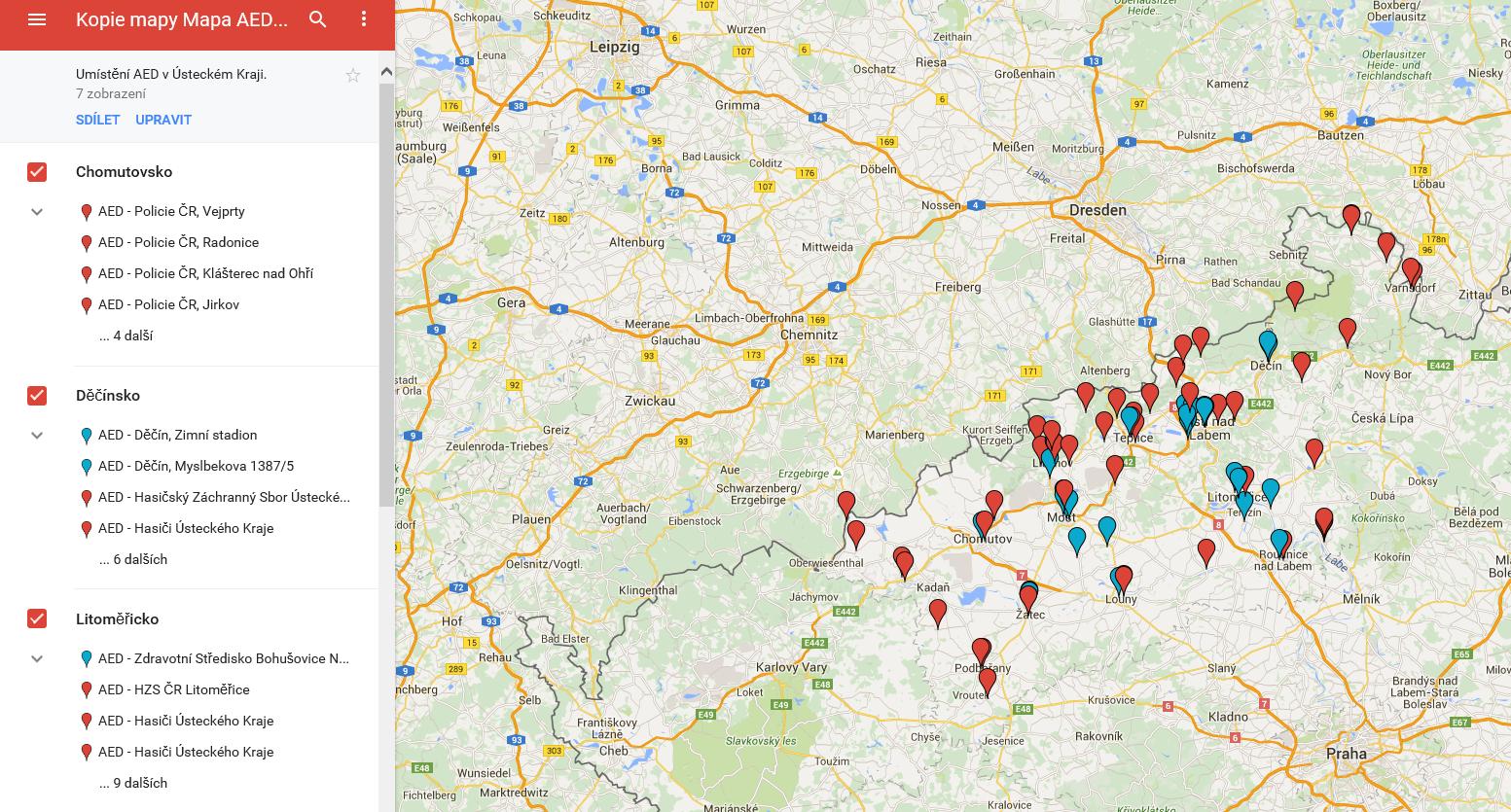 mapa google AED UK