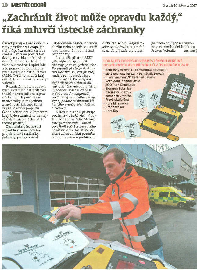 Výstřižek článek AED