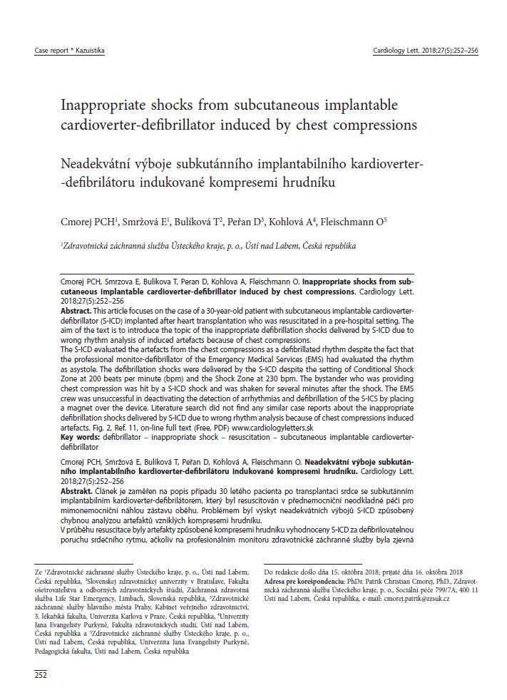 Prezentovaná kazuistika v odborném časopise Cardiology