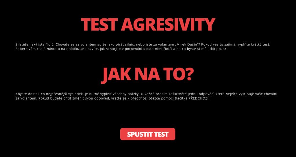 test řidiče agresivita