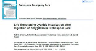 Výstřižek článek Prehospital Emergency Care - Amygdalin